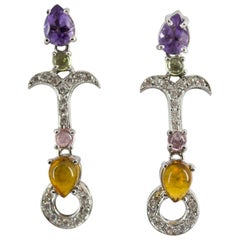 0.30 Carat White Diamond Amethyst Citrine White Gold Stud Earrings