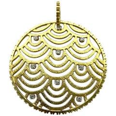 1980s Ilias Lalaounis Diamond Yellow Gold Pendant Necklace