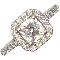 Hearts on Fire 1.10 Carat Asscher Cut Diamond Halo Platinum Engagement Ring