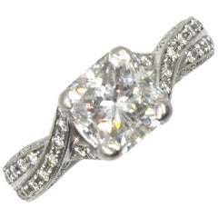 Hearts on Fire 1.62 Carat Cushion Cut Diamond Engagement Ring With Papers