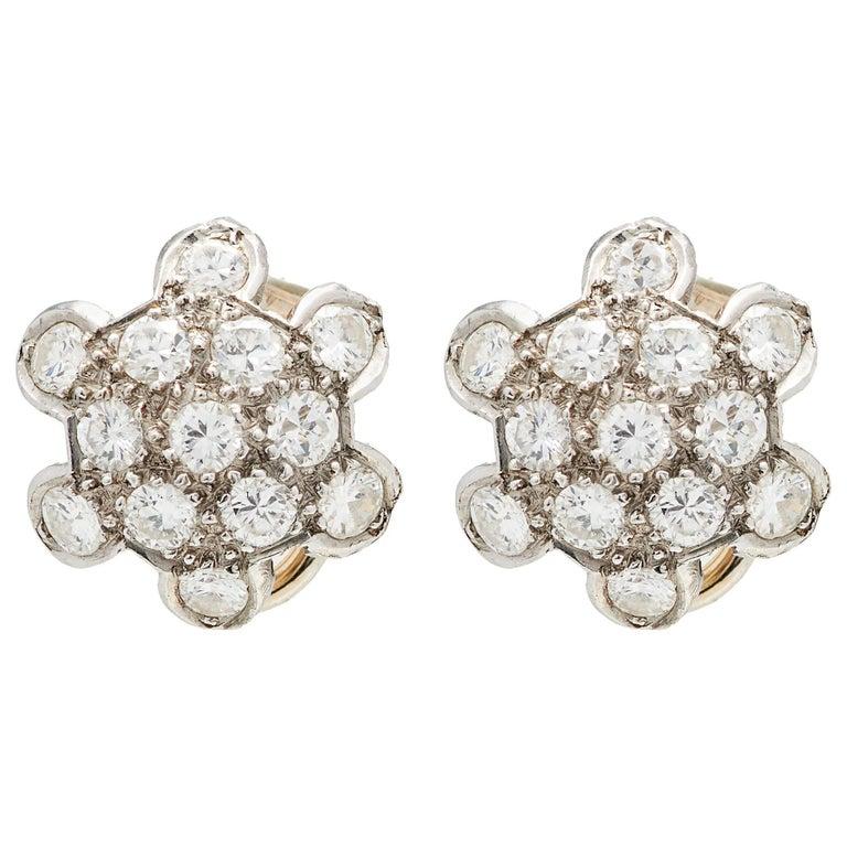 1950s Platinum Diamond Cluster Studs Earrings