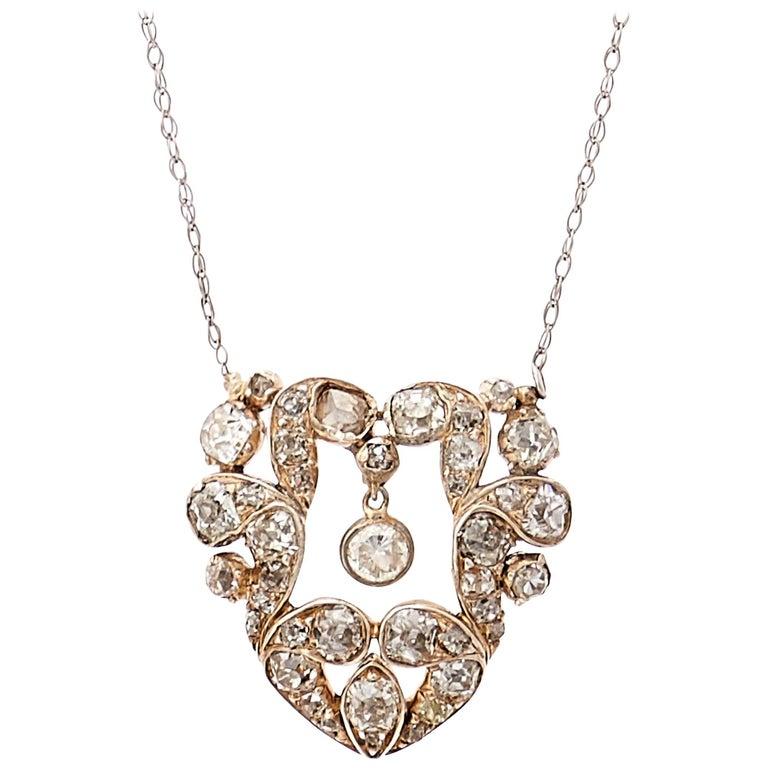 Heart Diamond Pendant with Dangling Diamond