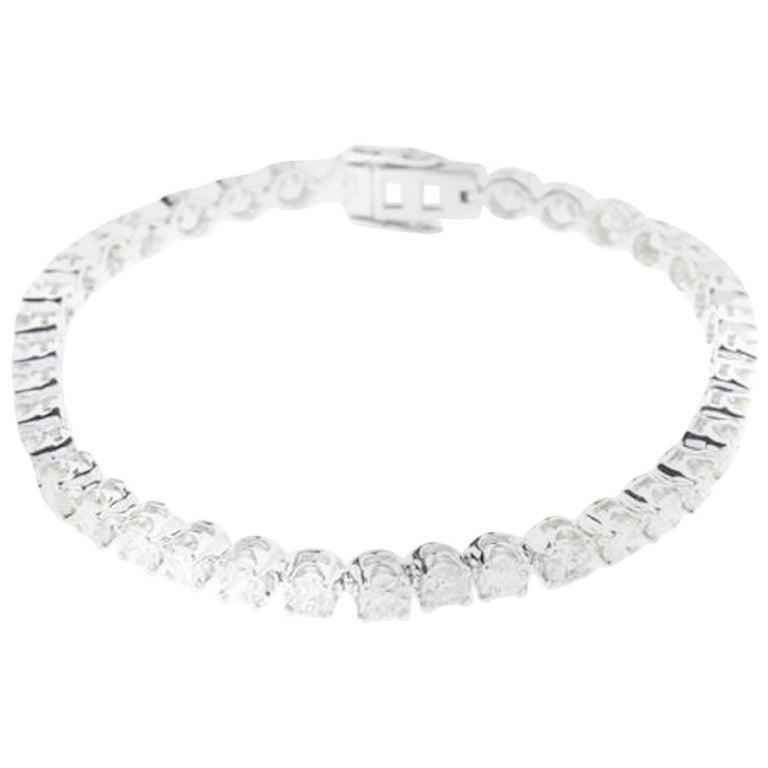Diamond Tennis Bracelet 7.71 Carat 18 Carat White Gold