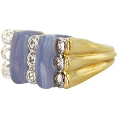 Carvin French Blue Agate, Diamond and Gold Ring