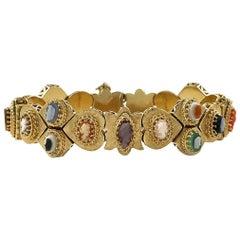 Victorian Gold Cameo Slide Bracelet