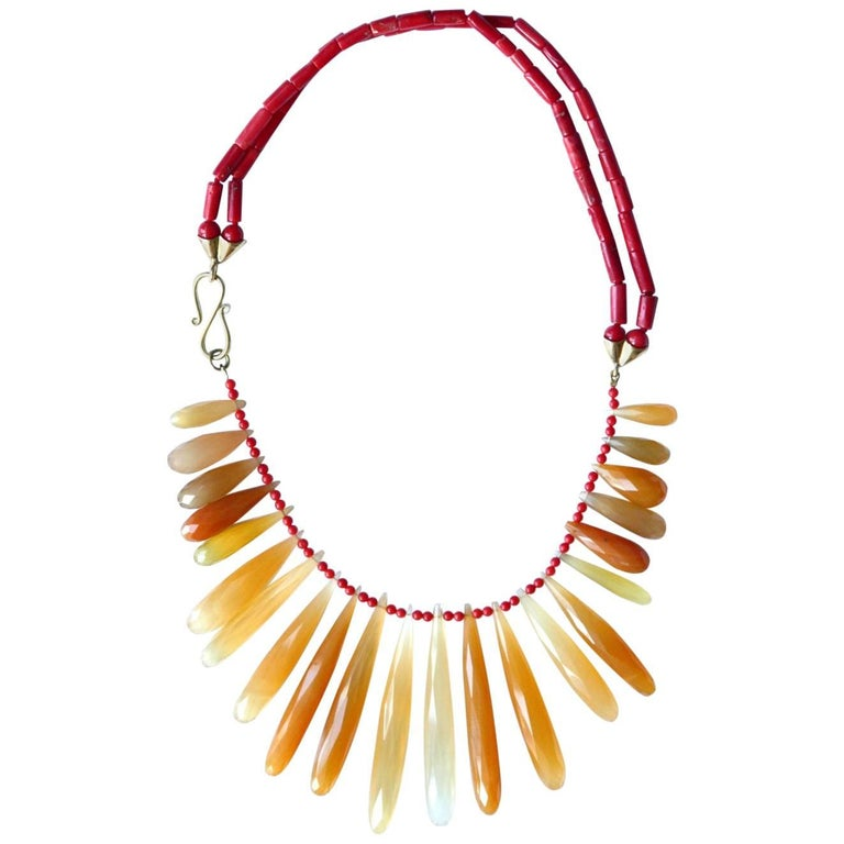 Red Italian Coral Orange Chalcedony Faced Drops Gold Necklace