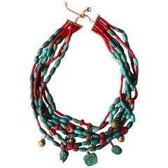 Amazonite Red Coral Turquoise Gold Necklace