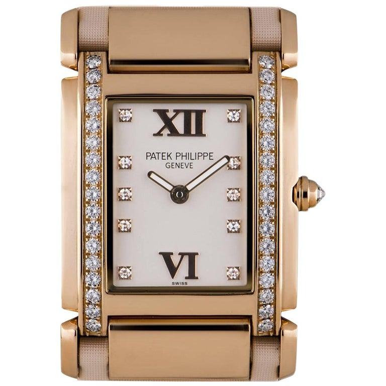 Patek Philippe Ladies Rose Gold Diamond White Dial Twenty-4 Quartz Wristwatch