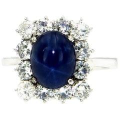 Estate 3.10 Carat Star Sapphire Diamond Gold Ring