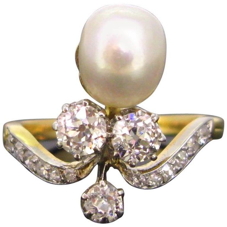 Art Nouveau Natural Pearl Diamond Duchess Platinum Engagement Ring