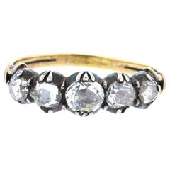 Early Victorian Five-Stone Rose Cut Diamond Ring