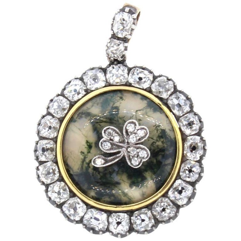 Antique Old Mine Cut Diamond Gold Dendritic Agate Clover Pendant