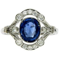 Art Deco Ceylon Sapphire Diamond Gold Ring