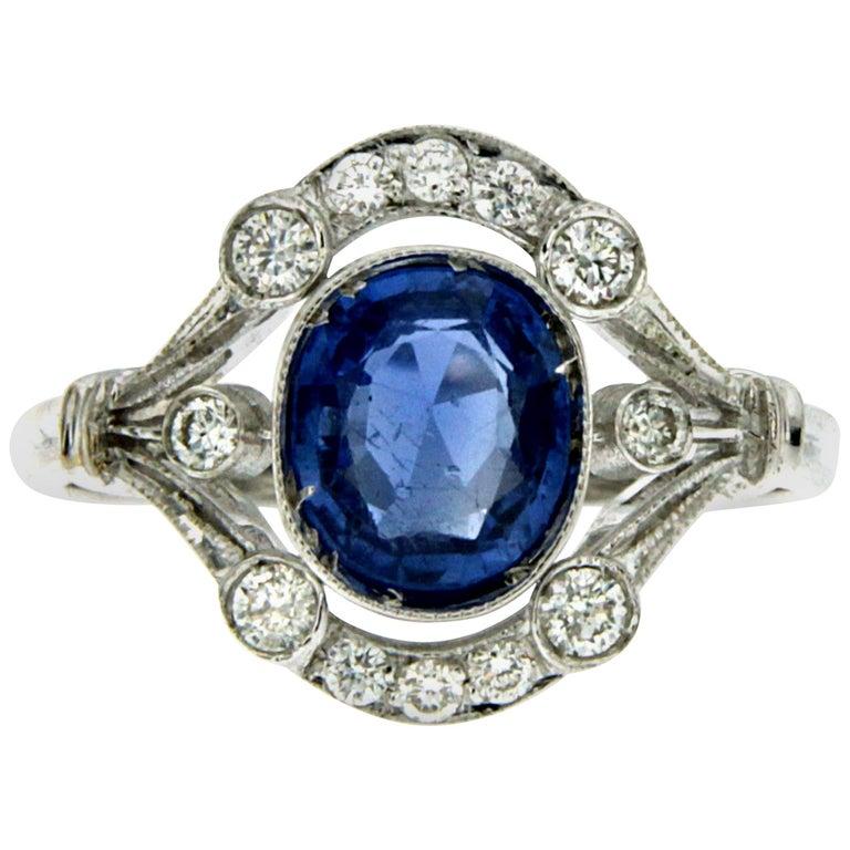 Art Deco Ceylon Sapphire Diamond Gold Ring For Sale