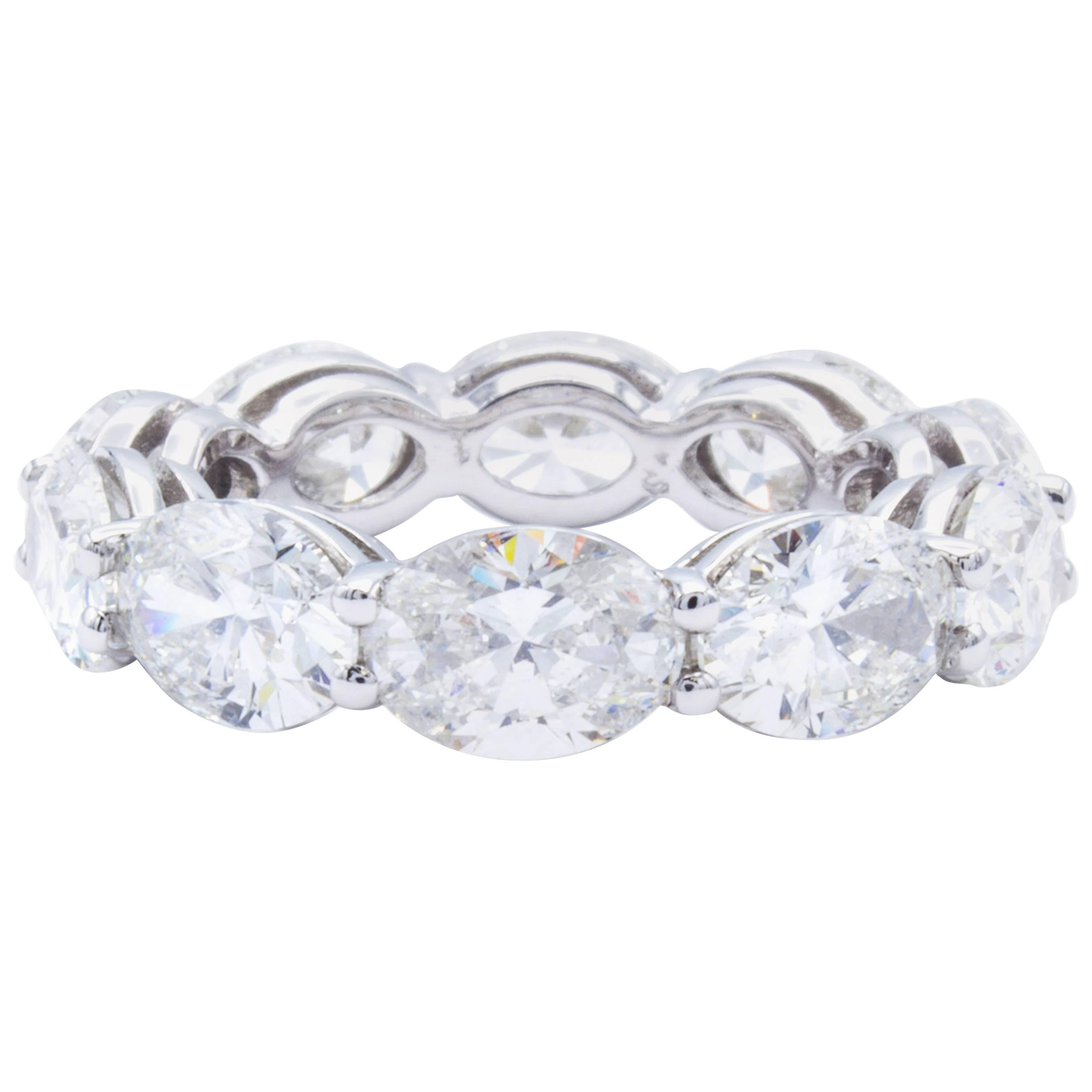 3ce2e553b11173 David Rosenberg 7.44 Carat Platinum Oval Shape Diamond Eternity Wedding Band  For Sale at 1stdibs