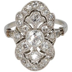 French Belle Époque 2.35 Carat Diamond Platinum Panel Ring