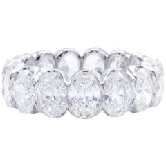 David Rosenberg 7.40 Carat Oval Shape 18 Karat White Gold Diamond Eternity Band