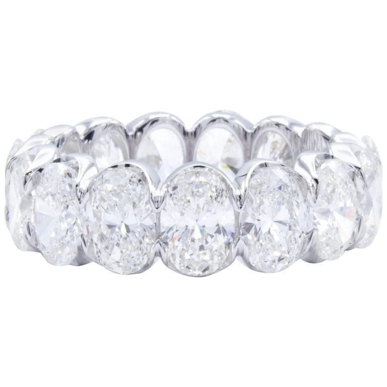 David Rosenberg 7.40 Carat Oval Shape 18 Karat White Gold Diamond Eternity Band