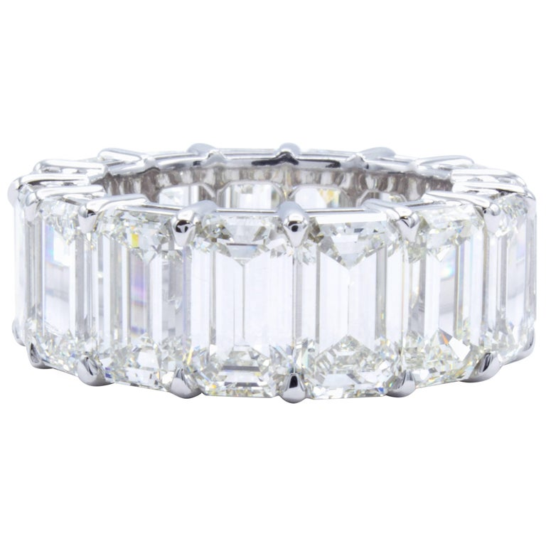 David Rosenberg 17 Carat Emerald Cut GIA Platinum Diamond Eternity Wedding Band