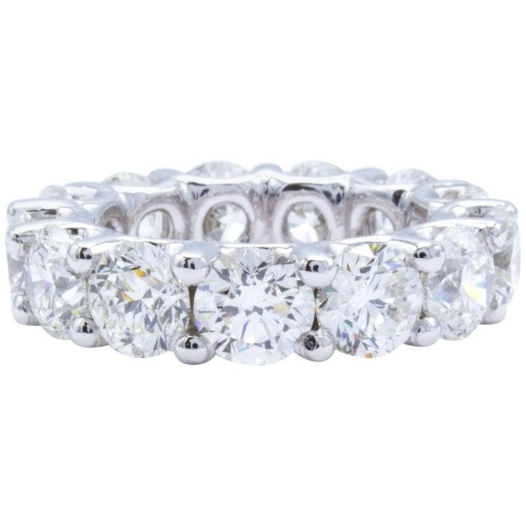 David Rosenberg 9 Carat Round Brilliant Platinum Diamond Eternity Wedding Band