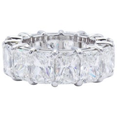 David Rosenberg 14 Carat Radiant Cut Platinum GIA Eternity Diamond Wedding Band