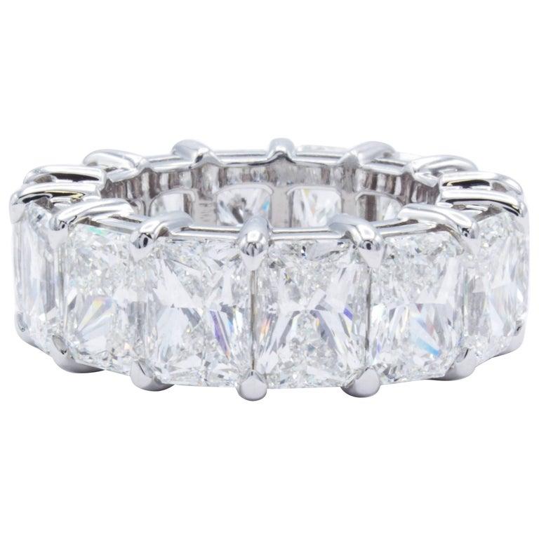David Rosenberg 14 Carat Radiant Cut Platinum GIA Eternity Diamond Wedding Band