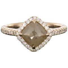 1.57 Carat Kite Shaped Reddish or Grey Rough Diamond Halo Ring