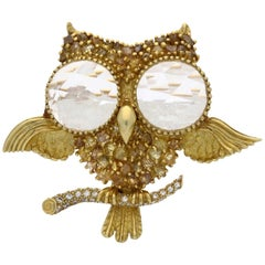Julius Cohen Gold, Rough Diamond and Rose-cut Rock Crystal Owl Brooch  c1960s
