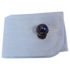 18 Karat Yellow Gold and Blue and Red Enamel Chicago Cubs Cufflinks
