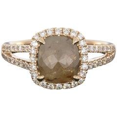 1.77 Carat Rough Reddish Gray Cushion Shape Diamond Engagement Ring
