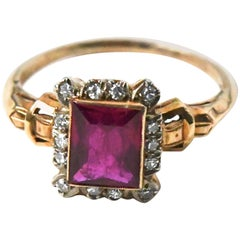 1930s Ruby Diamond Buckle Ring
