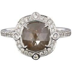 1.97 Carat Reddish Gray Cushion Rough Diamond Engagement Ring