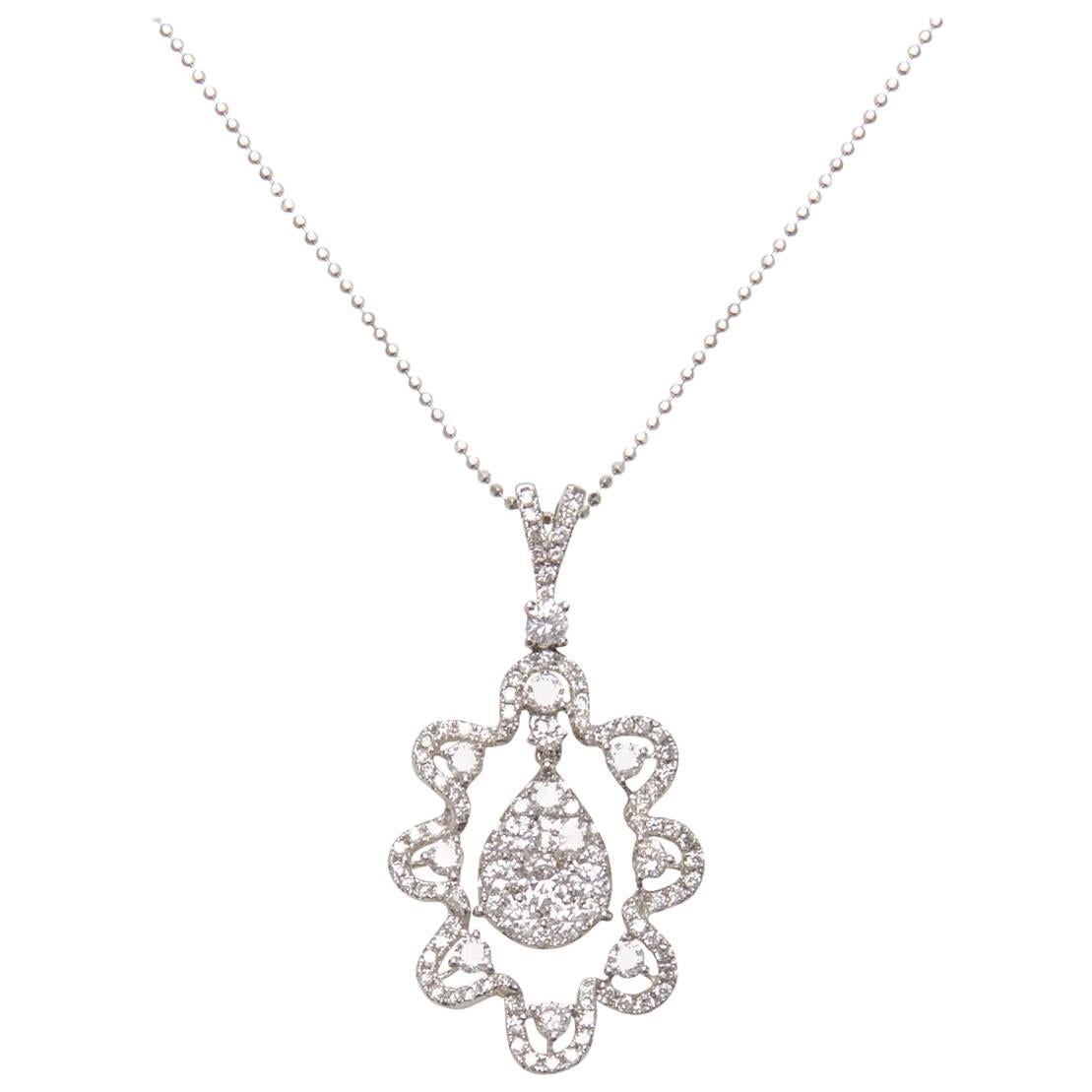 Long Diamond Pendant Necklace