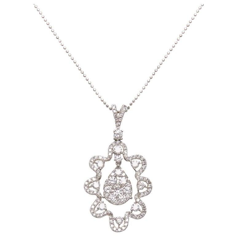 Long Diamond Pendant Necklace