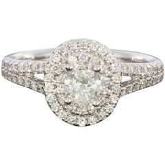 1.22 Carat Oval Diamond Double Halo Engagement Ring