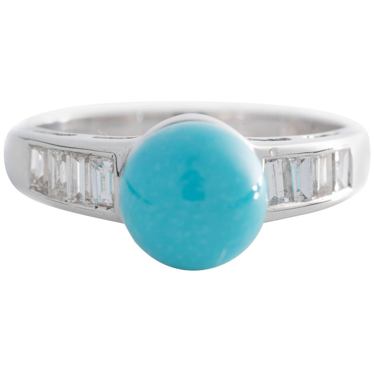 1970s Turquoise and Diamond 18 Karat White Gold Ring For Sale