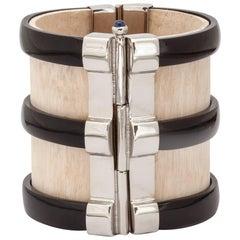 Fouche Art Deco Cuff Bracelet Horn Sapphire Emerald Ruby Wood Horn