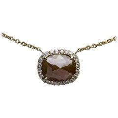 1.70 Carat Rough Cushion Diamond Halo Necklace