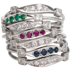 Seven-Ring Stack with Emerald, Ruby, Sapphire, Diamond and 14 Karat White Gold