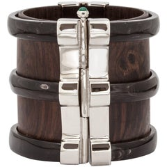 Fouche Art Deco Cuff Bracelet Horn Emerald Wood