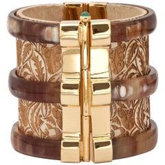 Fouche Cuff Bracelet Horn Emerald Wood