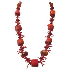 Coral and Amber Beaded Necklace with 14 Karat Gold Beads by Marina J