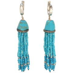 Turquoise Tassel Earrings with 14 K White Gold Lever Back by Marina J.