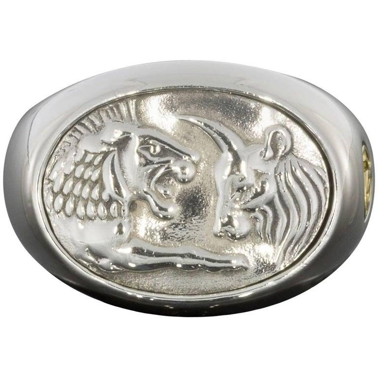 David Yurman Sterling Silver & Yellow Gold Mens Petrvs Lion Signet Ring