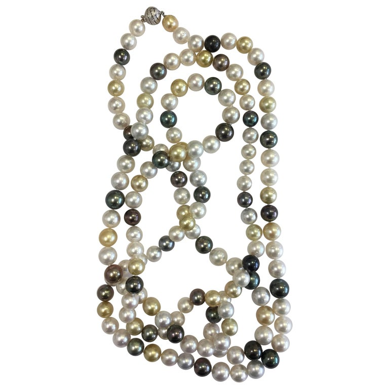 Tahitian, South Sea, and Golden Pearl Necklace