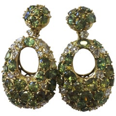 Green Demantoid Garnet and White Diamond Long Earrings in 18 Karat Yellow Gold