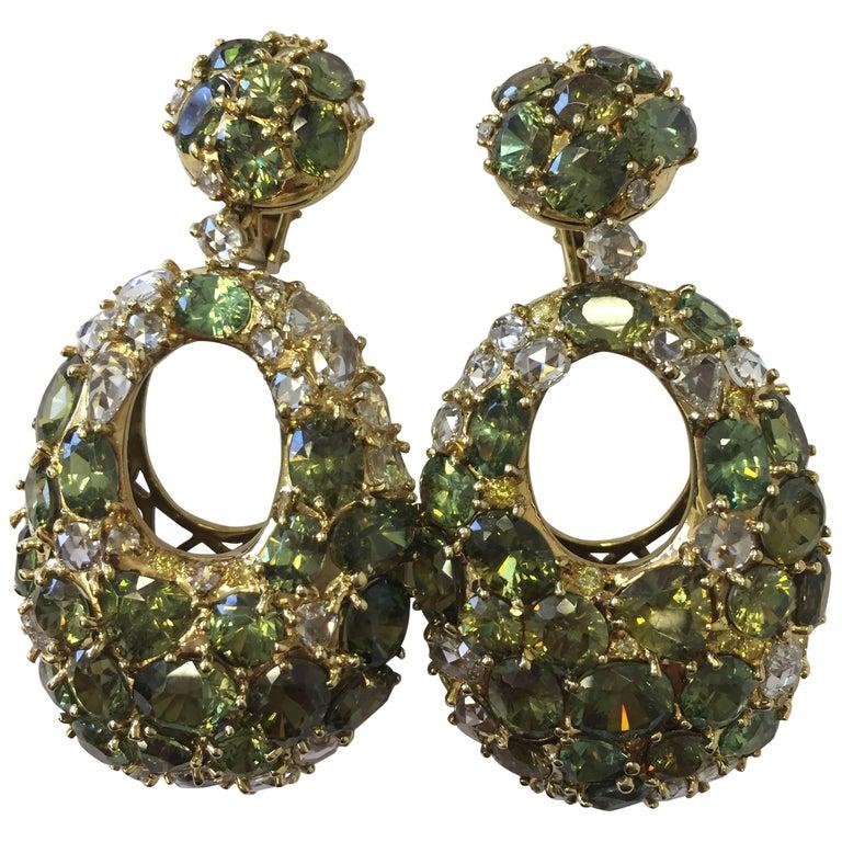 Green Demantoid Garnet and White Diamond Long Earrings in 18 Karat Yellow Gold