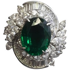 Emerald Oval and Diamond Cocktail Ring in Platinum