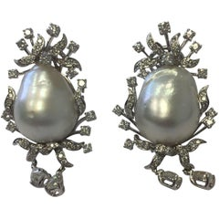 Estate South Sea White Baroque Pearl and Diamond Dangle Earrings in 18 Karat