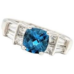 18 Karat White Gold .75 Carat Cushion Cut London Blue Topaz and Diamond Ring